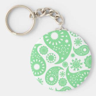 Pastel Green Paisley Pattern Design Keychains