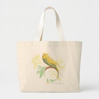 Pastel Green Parakeet Large Tote Bag