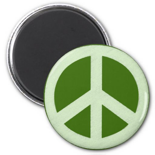 Pastel Green Peace Sign 2 Inch Round Magnet