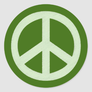 Pastel Green Peace Sign Classic Round Sticker