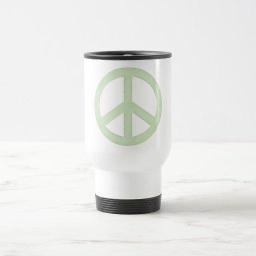 Pastel Green Peace Sign 15 Oz Stainless Steel Travel Mug