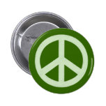 Pastel Green Peace Sign Pinback Buttons