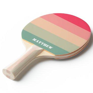 Pastel Green Pink Name Full Print Ping Pong Paddle