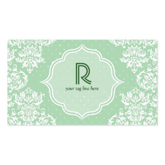 Pastel Green Polka Dot & Floral-Elegant Template Double-Sided Standard Business Cards (Pack Of 100)