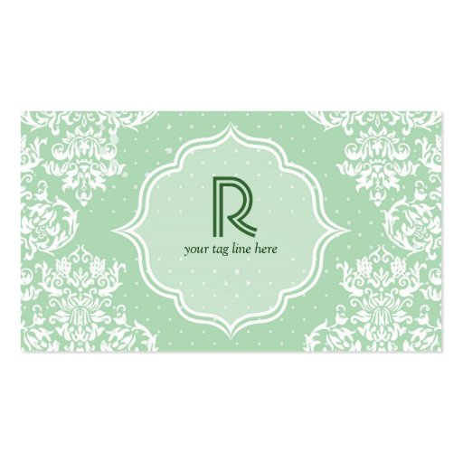 Pastel Green Polka Dot & Floral-Elegant Template Business Card Templates