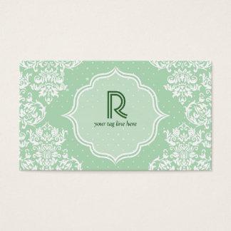 Pastel Green Polka Dot & Floral-Elegant Template Business Card
