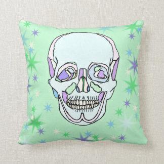 Pastel Green & Purple Skull & Stars Pillow