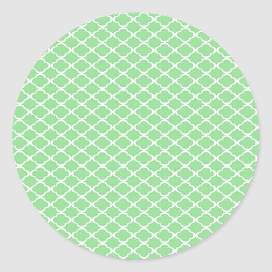 Pastel Green Quatrefoil Classic Round Sticker