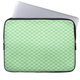 Pastel Green Quatrefoil Laptop Sleeves