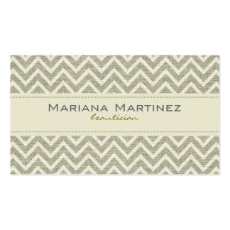 Pastel Green Retro Chevron Pattern Linen Texture Double-Sided Standard Business Cards (Pack Of 100)