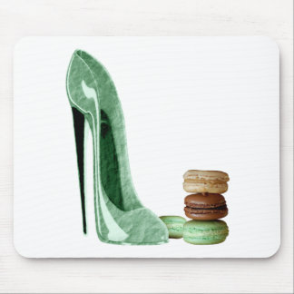 Pastel Green Stiletto and French Macaroons Art Mouse Mats