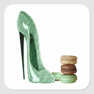 Pastel Green Stiletto and French Macaroons Art Square Sticker