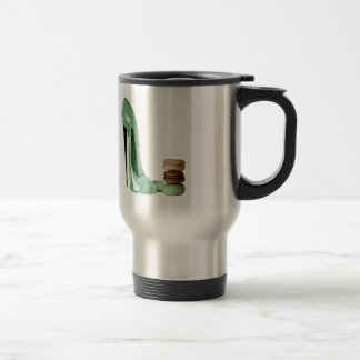 Pastel Green Stiletto and French Macaroons Art Travel Mug
