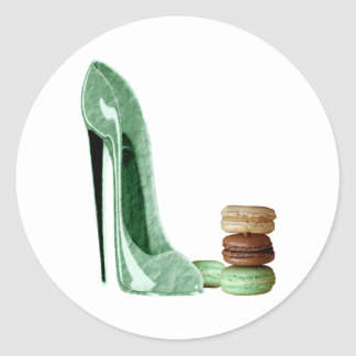 Pastel Green Stiletto Shoe and French Macaroons Ar Classic Round Sticker