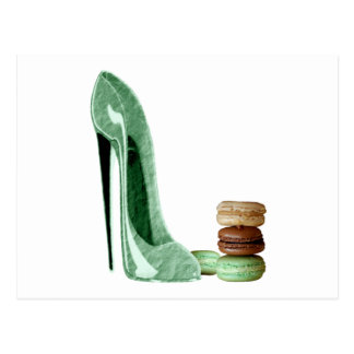 Pastel Green Stiletto Shoe and French Macaroons Ar Postcard