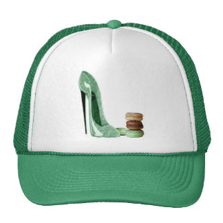 Pastel Green Stiletto Shoe and French Macaroons Ar Trucker Hat
