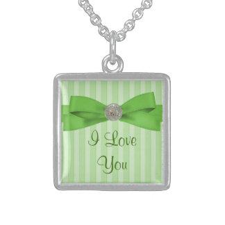 Pastel Green Stripes Elegance Sterling Silver Necklace