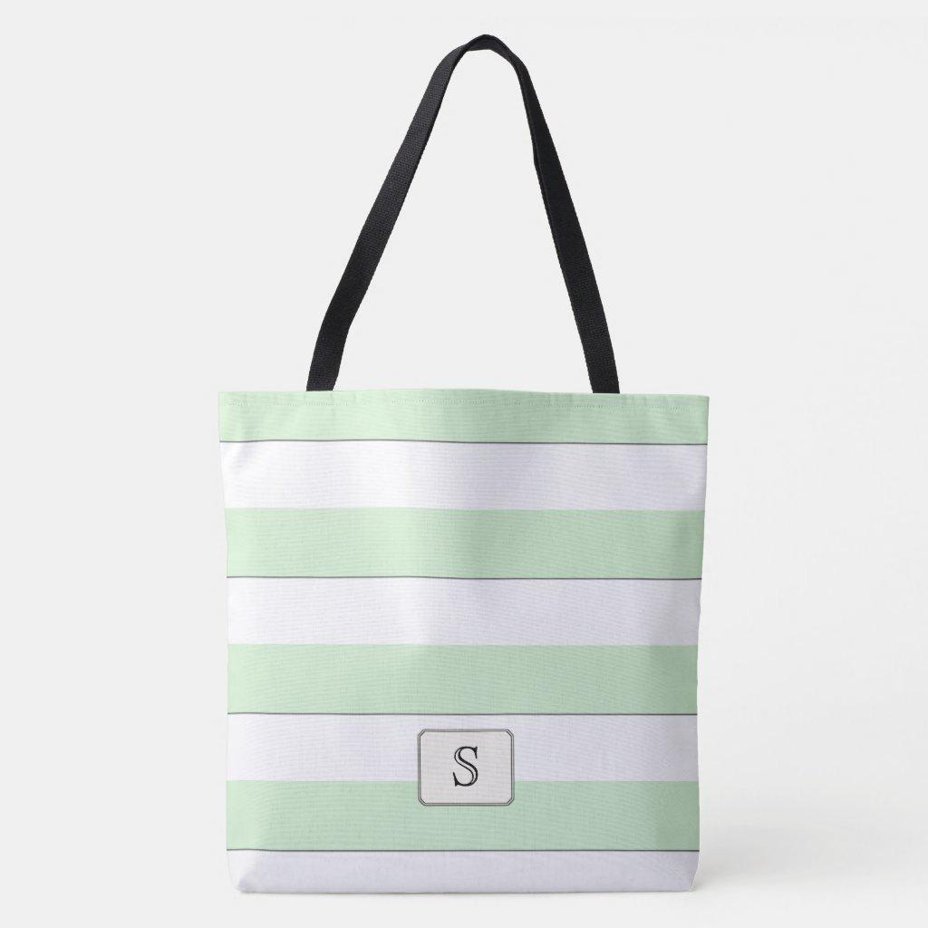 Pastel Green Stripes on any Color Custom Monogram