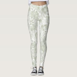 Pastel green watercolor botanical floral leggings