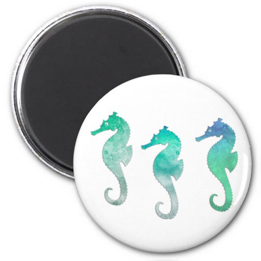 Pastel Green Watercolor Seahorses 2 Inch Round Magnet