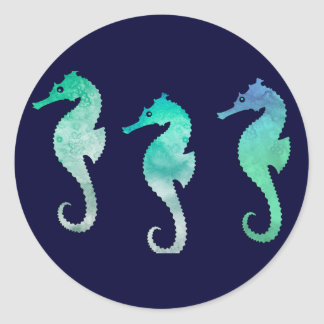 Pastel Green Watercolor Seahorses Classic Round Sticker