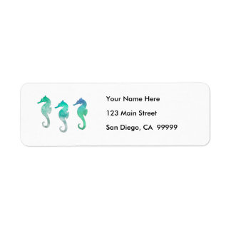 Pastel Green Watercolor Seahorses Return Address Label