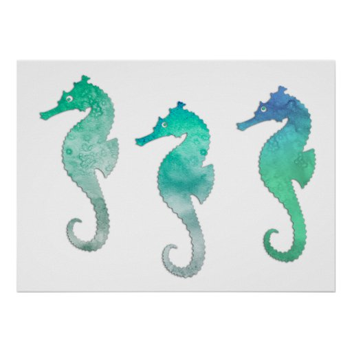 Pastel Green Watercolor Seahorses Poster