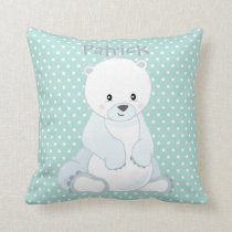 Pastel Green-White PolkaDot•Baby Polar Bear•Custom Throw Pillow