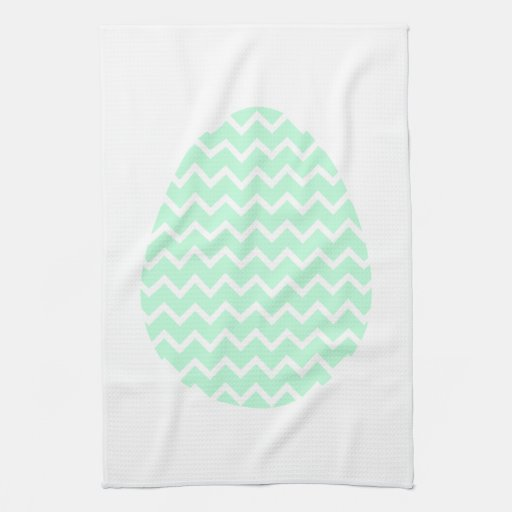Pastel Green Zigzag Easter Egg. Hand Towel