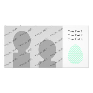 Pastel Green Zigzag Easter Egg. Photo Card
