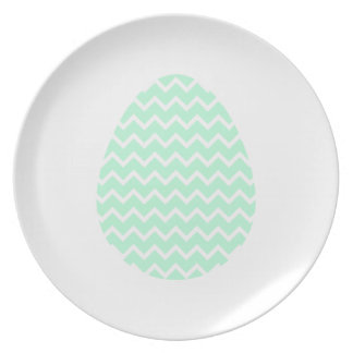 Pastel Green Zigzag Easter Egg. Party Plates