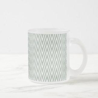 Pastel green zigzag pattern frosted glass coffee mug