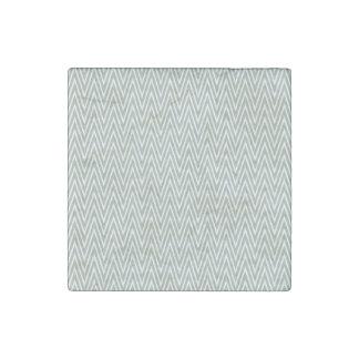 Pastel green zigzag pattern stone magnet