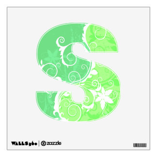Pastel Greens and White Grunge Wall Decal