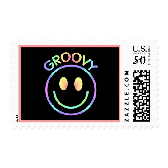 Pastel Groovy Smiley Postage Stamps