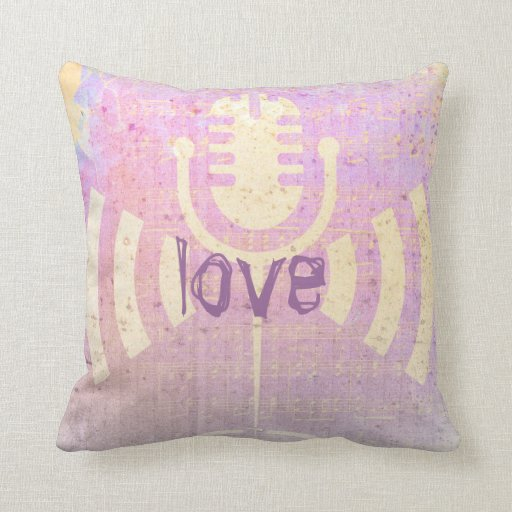 Pastel Grunge Love Music Pink Yellow Cushion