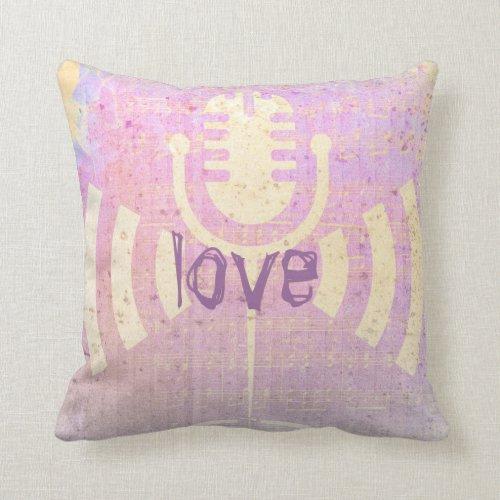 Pastel Grunge Love Music Pink Yellow Cushion Throw Pillows