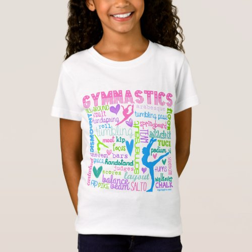 Pastel Gymnastics Words Typography T_Shirt
