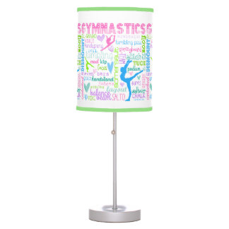 Pastel Gymnastics Words Typography Table Lamp