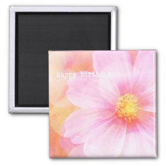 Pastel Happy Birthday Daisy 2 Inch Square Magnet