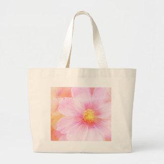 Pastel Happy Birthday Daisy Large Tote Bag