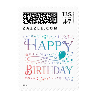 Pastel Happy Birthday Stamp Confetti and Balloon