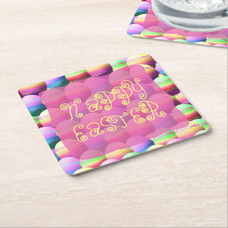 Pastel Happy Easter Eggs Square Paper Coaster