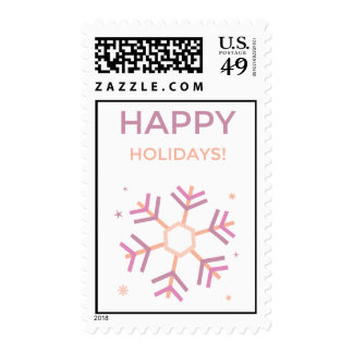 Pastel Happy Holidays Snowflake Stamps