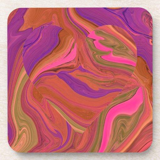 pastel heart art coaster