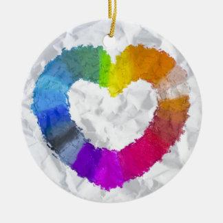 Pastel Heart Ceramic Ornament