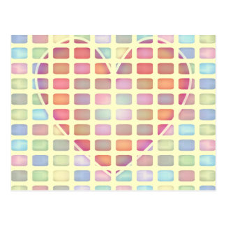 Pastel Heart Geometric Postcard