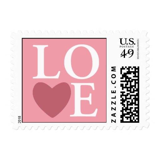 Pastel Heart Love Stamp Pink