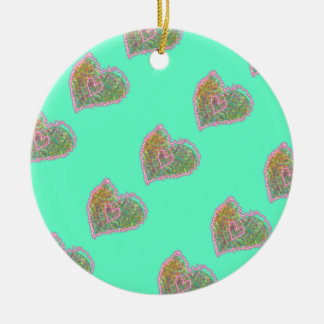 Pastel heart with neon - custom background Double-Sided ceramic round christmas ornament