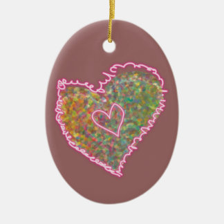Pastel heart with neon - custom background Double-Sided oval ceramic christmas ornament